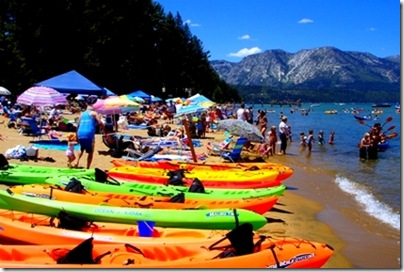 Tahoe beach kayaks