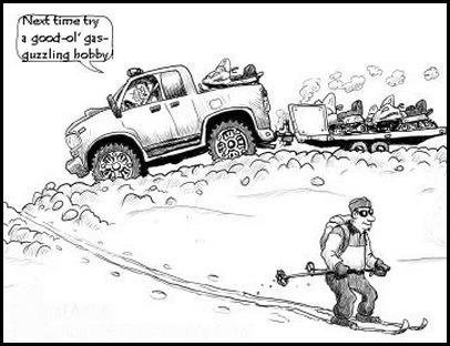 cc skier vs snowmobile