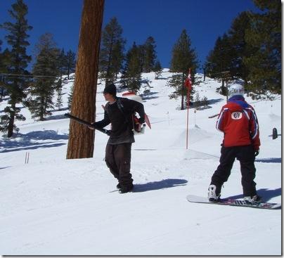 Leaf blower vs. snowboarder?