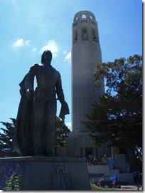 Coit Tower and a tall friend