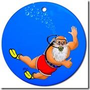 "Scuba Santa says, ""Merry Diving."""