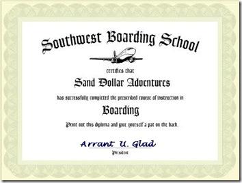 boarding school certificate