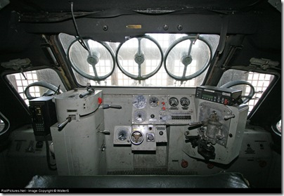 The cockpit of the snow-eating monster.
