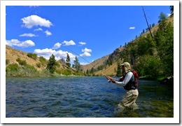 A wannabe fly fisherman in action.