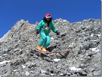 skiing on rocks