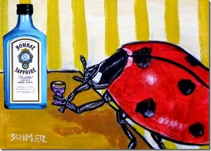 lady bug drinking