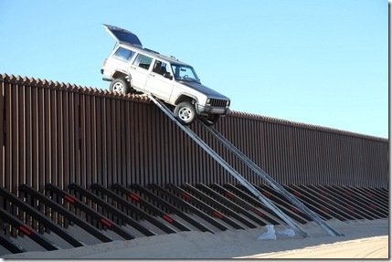 jeep on border fence stuck