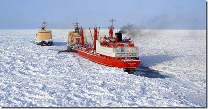 three ships stuck in ice