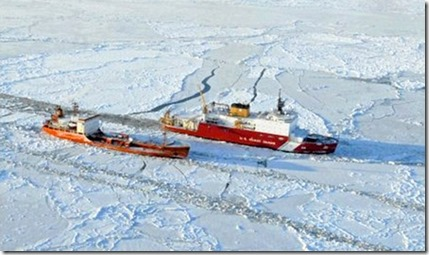two ships in ice