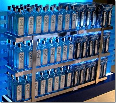 Bombay gin shelves